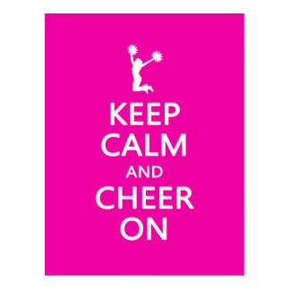Keep Calm and Cheer On, Cheerleader Pink Postcard