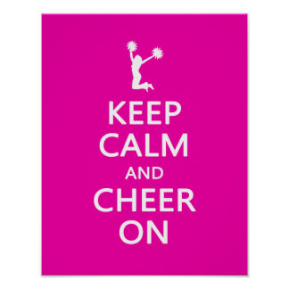 Keep Calm and Cheer On, Cheerleader Pink Poster