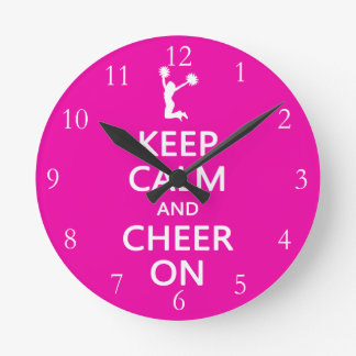 Keep Calm and Cheer On, Cheerleader Pink Round Clock