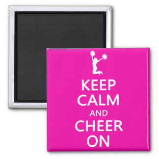 Keep Calm and Cheer On, Cheerleader Pink Square Magnet