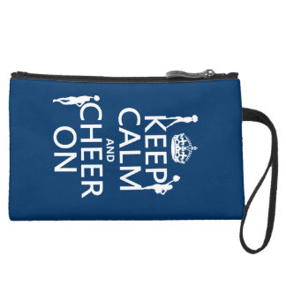 Keep Calm and Cheer On (cheerleaders)(any color) Suede Wristlet