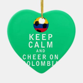 Keep Calm and Cheer On Colombia Ceramic Heart Decoration