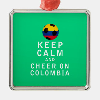 Keep Calm and Cheer On Colombia Silver-Colored Square Decoration