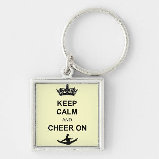 Keep calm and Cheer on Silver-Colored Square Key Ring