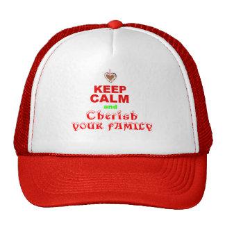"""Keep Calm and Cherish Your Family"" Merry Xmas Cap"