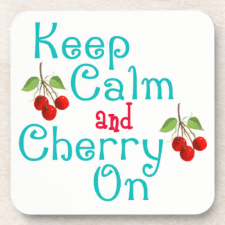 Keep Calm And Cherry On Cork Coasters