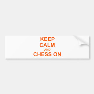 Keep Calm and Chess On red pink orange Bumper Sticker