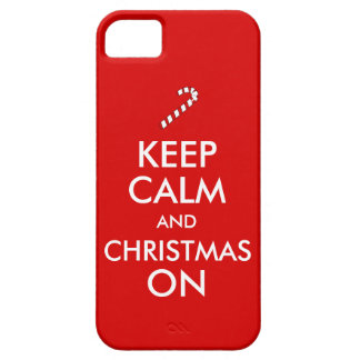 Keep Calm and Christmas On Candy Cane Customizable iPhone 5 Covers
