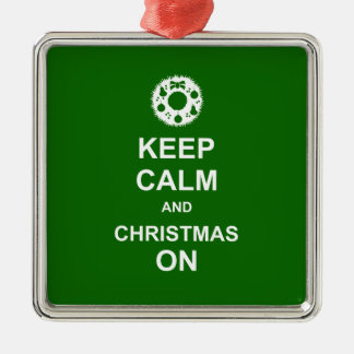 Keep Calm and Christmas On Silver-Colored Square Decoration