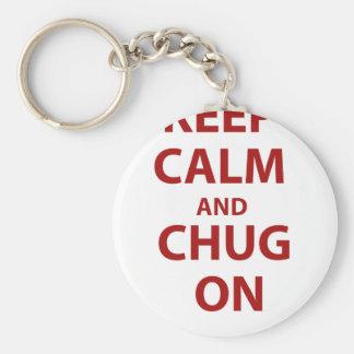 Keep Calm and Chug On Basic Round Button Key Ring