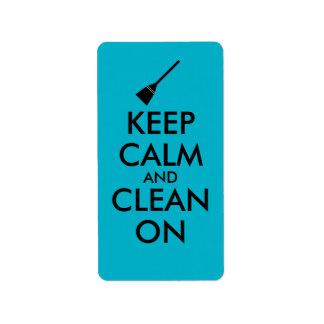 Keep Calm and Clean On Broom Custom Address Label