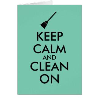 Keep Calm and Clean On Broom Custom Card
