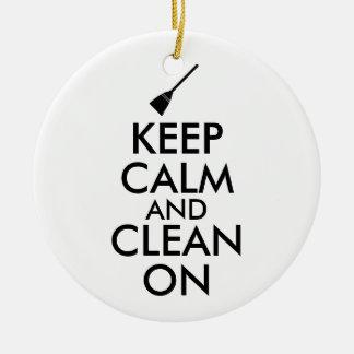 Keep Calm and Clean On Broom Custom Christmas Ornament