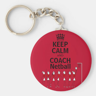 Keep Calm and Coach Netball Design Basic Round Button Key Ring