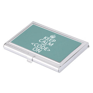 Keep Calm and <Code> On - all colours Business Card Holder