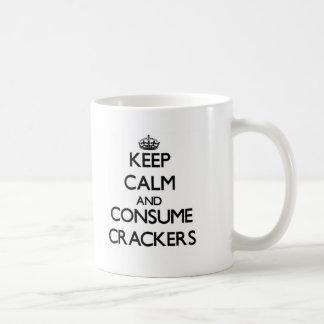 Keep calm and consume Crackers Coffee Mugs
