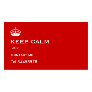 keep calm and contact me business cards