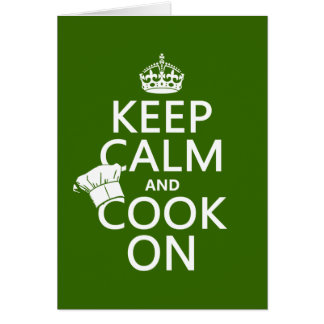Keep Calm and Cook On (customizable colors) Card