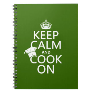 Keep Calm and Cook On (customizable colors) Notebook