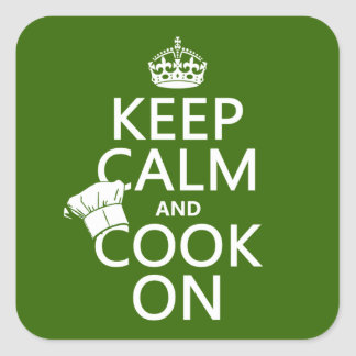 Keep Calm and Cook On (customizable colors) Square Sticker
