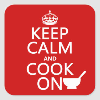 Keep Calm and Cook On (customize colors) Square Sticker