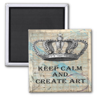 Keep Calm and Create Art Vintage Abstract Design Magnet