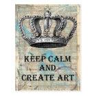 Keep Calm and Create Art Vintage Abstract Design Postcard