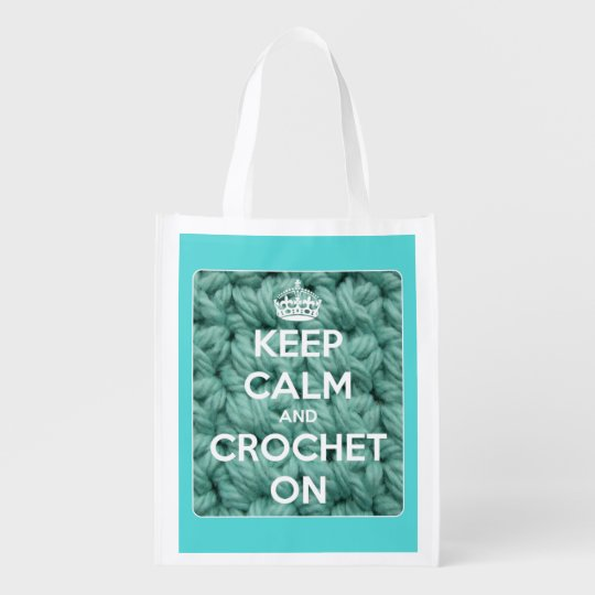 Keep Calm and Crochet On Blue and White