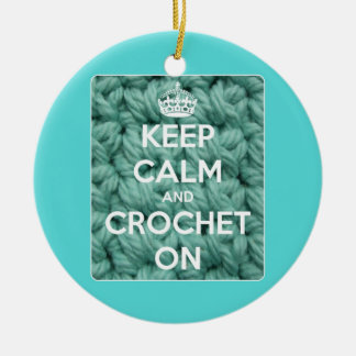 Keep Calm and Crochet On Blue Christmas Ornament