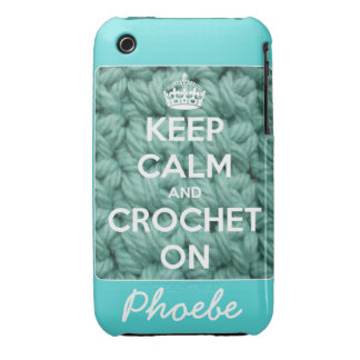 Keep Calm and Crochet On Blue Personalized iPhone 3 Case-Mate Cases