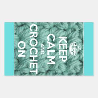 Keep Calm and Crochet On Blue Rectangular Sticker