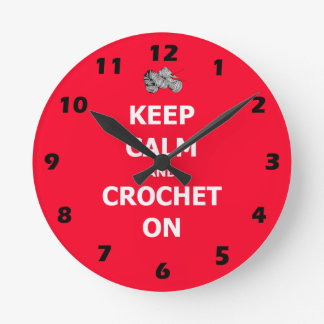 Keep calm and crochet on, red with numbers round clock