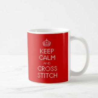 Keep Calm and Cross Stitch Basic White Mug