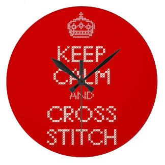 Keep Calm and Cross Stitch Wall Clock