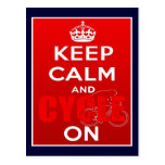 Keep Calm and Cycle on British Cycling Post Card