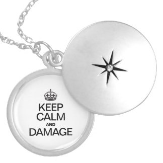 KEEP CALM AND DAMAGE ROUND LOCKET NECKLACE