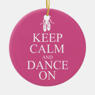 Keep Calm and Dance On Ballerina Shoes Pink Christmas Ornament