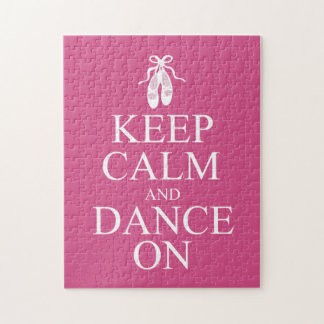 Keep Calm and Dance On Ballerina Shoes Pink Jigsaw Puzzle
