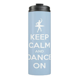 Keep Calm and Dance On Blue Personalized Thermal Tumbler