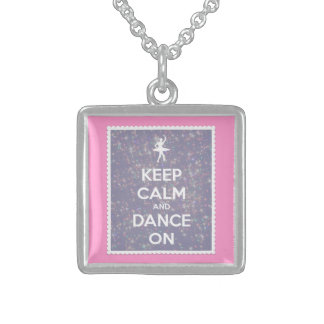 Keep Calm and Dance On Lavender Bokeh Square Pendant Necklace