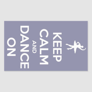 Keep Calm and Dance On Lavender Rectangular Sticker