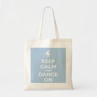 Keep Calm and Dance On Light Blue Budget Tote Bag