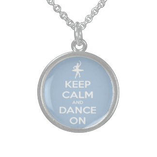 Keep Calm and Dance On Light Blue Necklace