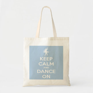 Keep Calm and Dance On Light Blue Tote Bag