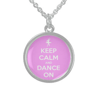 Keep Calm and Dance On Pink Sterling Silver Necklace
