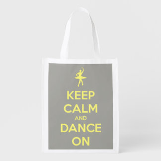 Keep Calm and Dance On Yellow on Grey Personalized