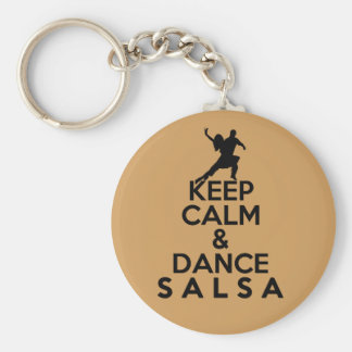 KEEP CALM AND DANCE SALSA gift Basic Round Button Key Ring