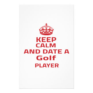 Keep calm and date a Golf player Custom Stationery