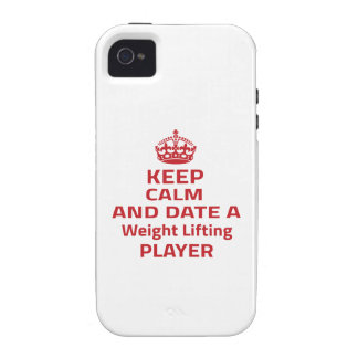 Keep calm and date a Weight Lifting player Case-Mate iPhone 4 Covers