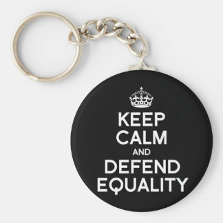 KEEP CALM AND DEFEND EQUALITY BASIC ROUND BUTTON KEY RING